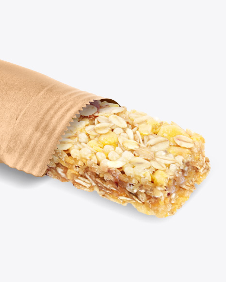 Opened Kraft Snack Bar Mockup