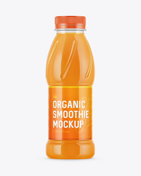 Plastic Bottle W/ Carrot Smoothie Mockup