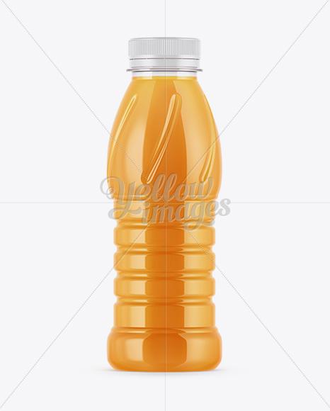 Plastic Bottle W/ Mango Smoothie Mockup