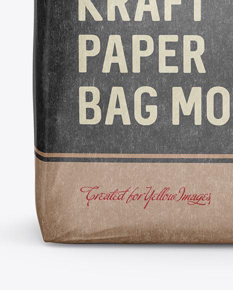 Glossy Kraft Paper Bag Mockup - Front View