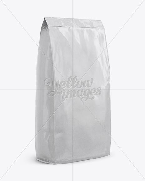 Glossy Paper Bag Mockup - Front View