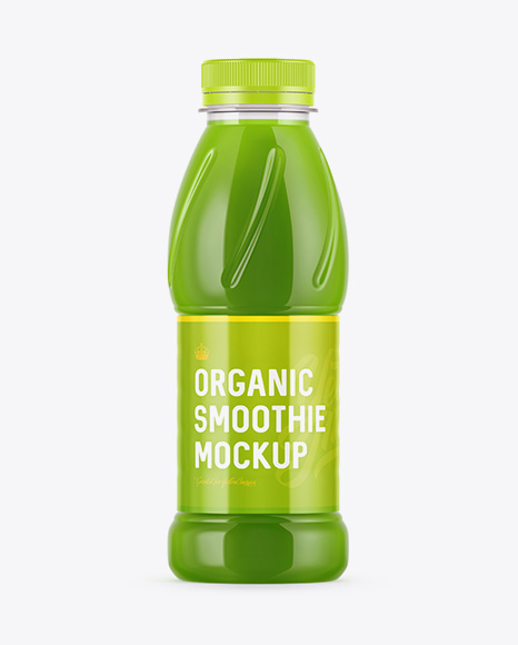 Plastic Bottle W/ Organic Smoothie Mockup