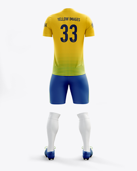 Men's Full Soccer Kit with V-Neck Shirt Mockup (Back View)