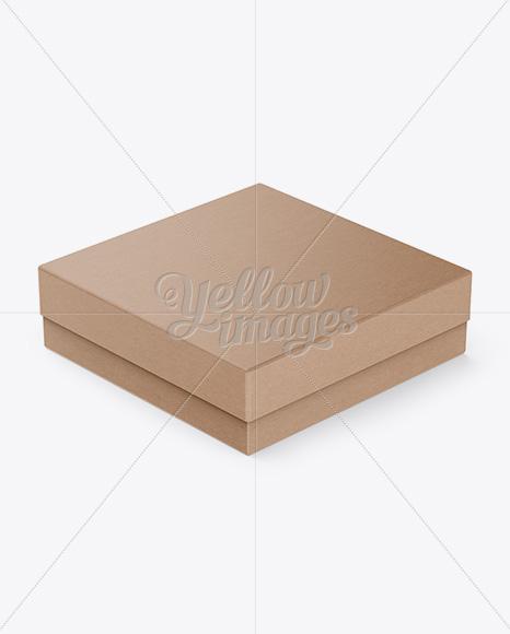 Kraft Paper Jewelry Box Mockup - Halfside View (High-Angle Shot)