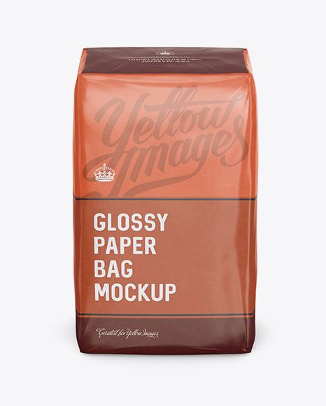 Glossy Paper Bag Mockup - Front View (High-Angle Shot)