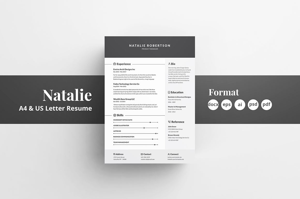 Resume/CV Template - Natalie in Resume Templates on ...
