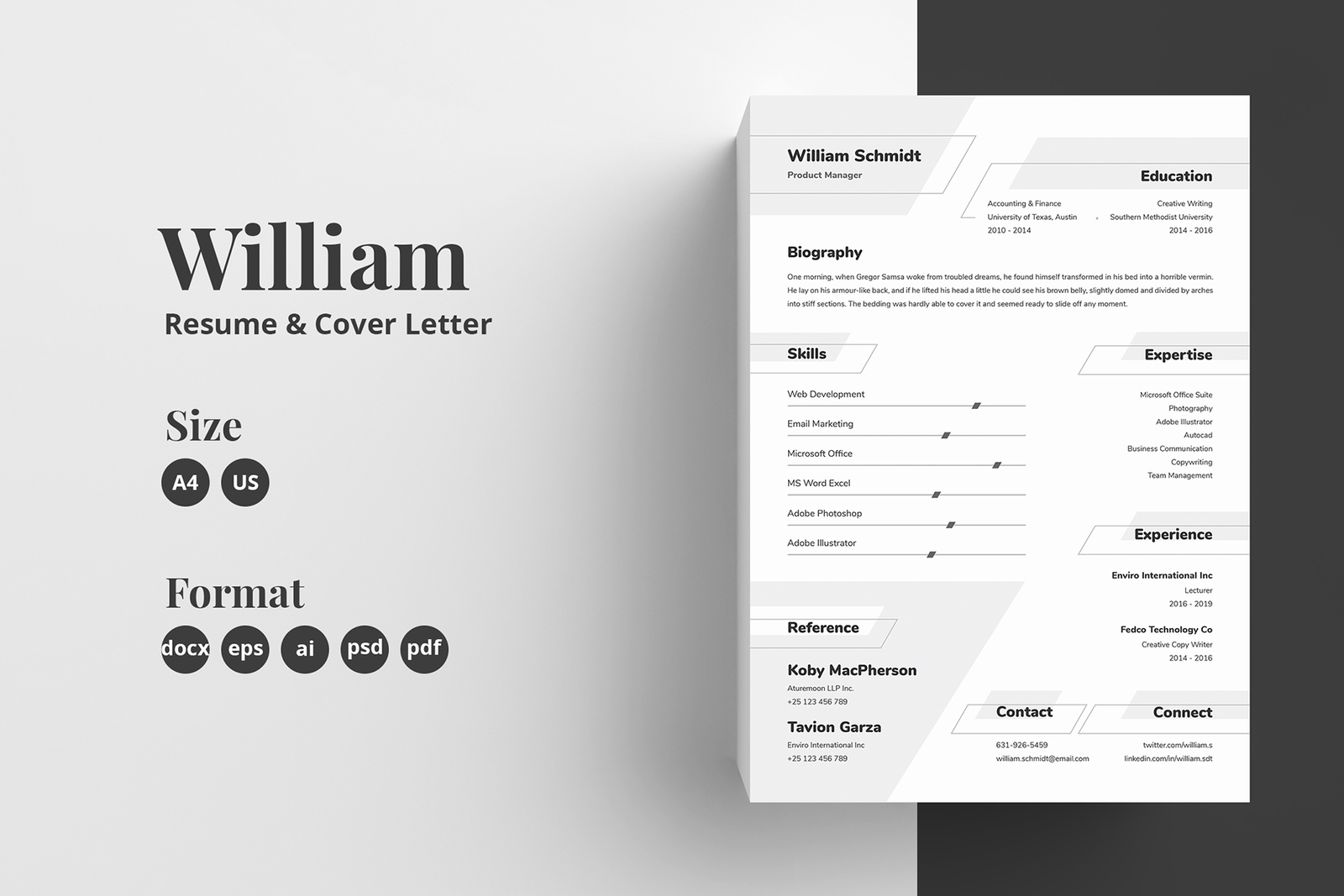 Resume Cv Template William In Resume Templates On Yellow