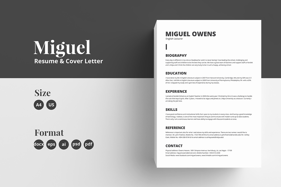 Resume/CV Template - Miguel in Resume Templates on ...
