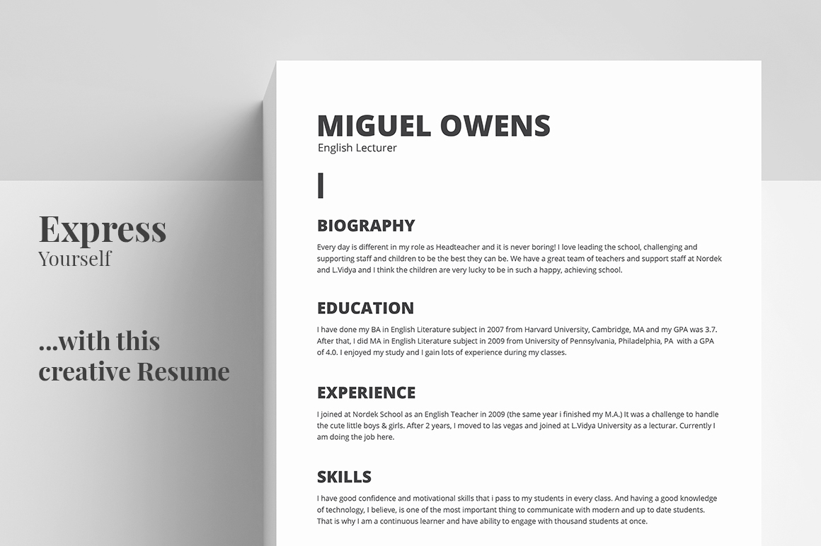 Resume/CV Template - Miguel