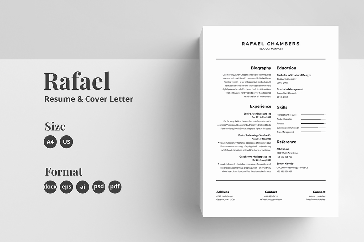 Resume/CV Template - Rafael in Resume Templates on ...