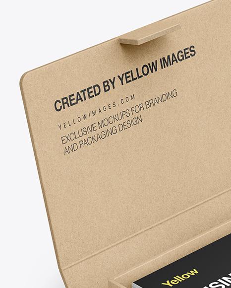Kraft Paper Box w/ Business Cards Mockup