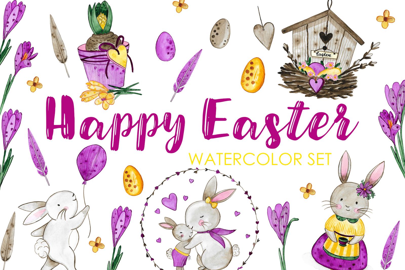 Happy Easter. Watercolor Set.