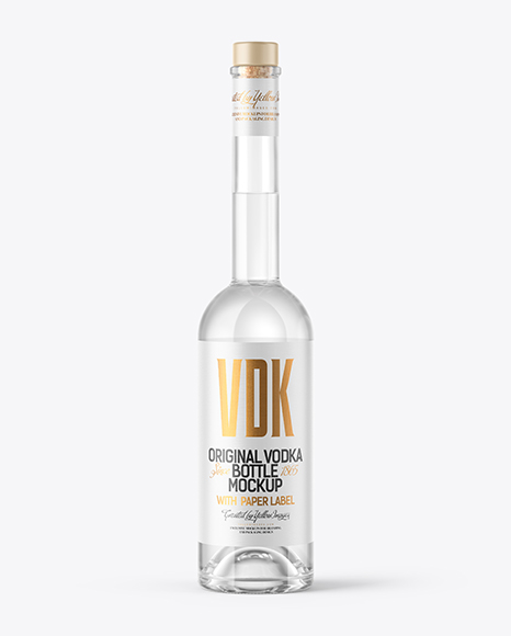 Vodka Bottle with Wooden Cap Mockup