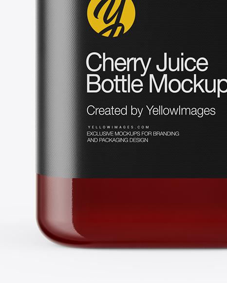 Square Cherry Juice Bottle Mockup