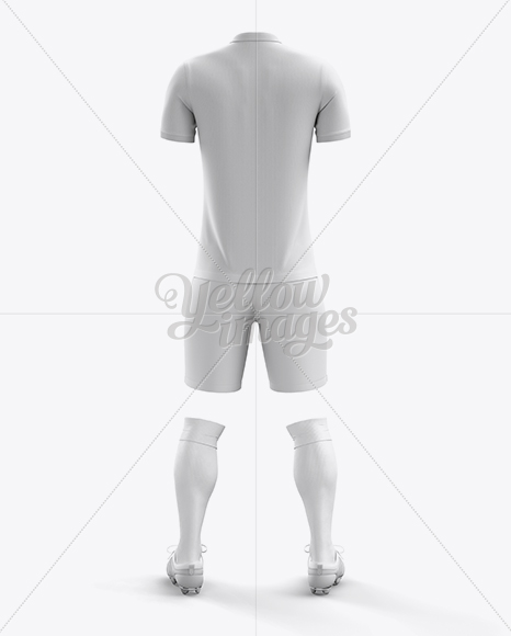 Download Football Kit With V Neck Long Sleeve Mockup Back View Yellow Images