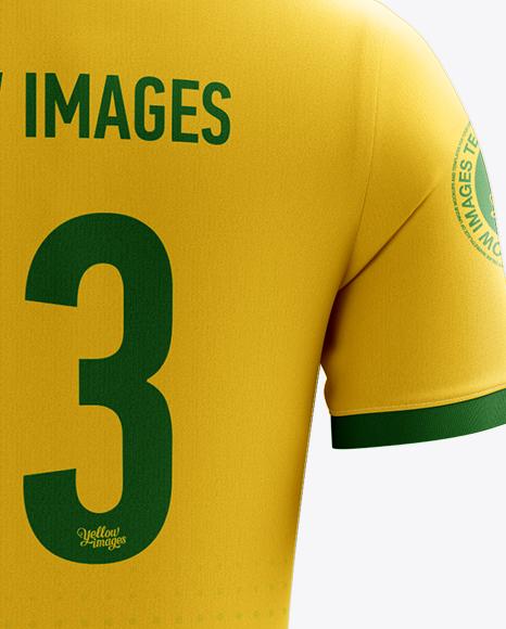 Men's Full Soccer Kit with Polo Shirt Mockup (Back View)