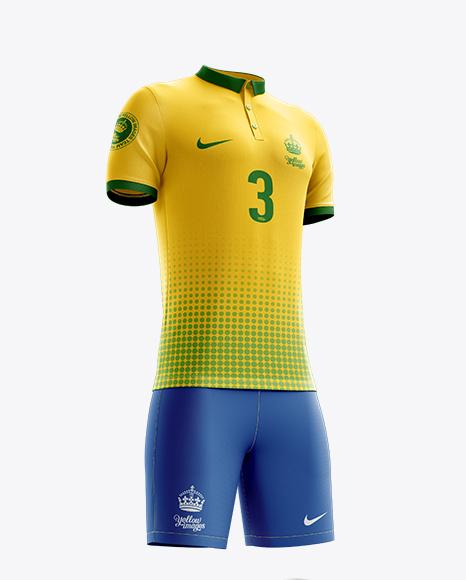 Men's Full Soccer Kit with Polo Shirt Mockup (Hero Shot)
