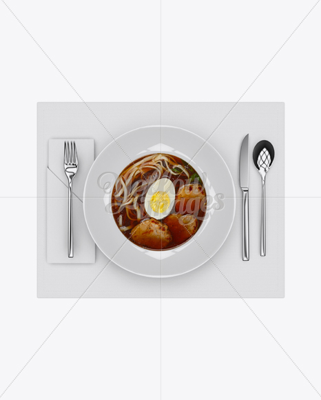 Plate with Beef Miso Soup and Cutlery Mockup - Top View