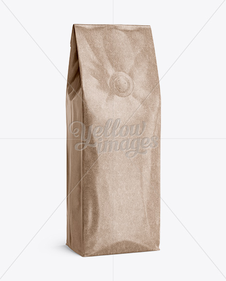 Download Glossy Kraft Coffee Bag With Valve Mockup Halfside View In Bag Sack Mockups On Yellow Images Object Mockups PSD Mockup Templates