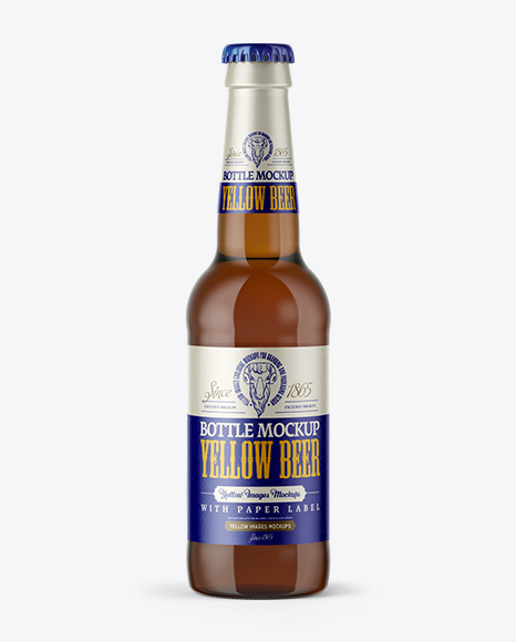 Amber Glass Bottle with Light Beer Mockup