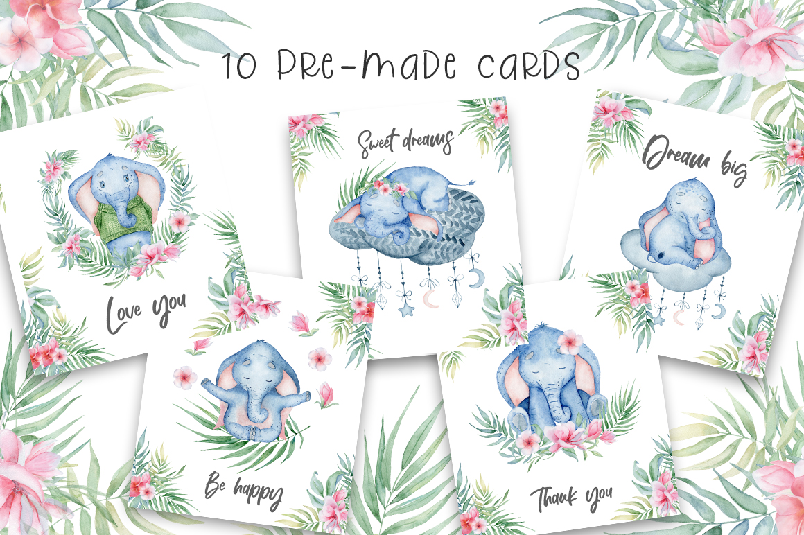 Lovely Elephants Watercolor set animals clipart