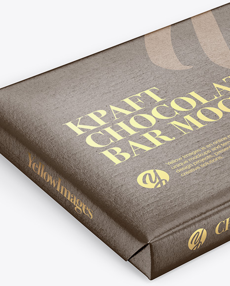 Kraft Glossy Chocolate Bar Mockup - Halfside View (High Angle Shot)
