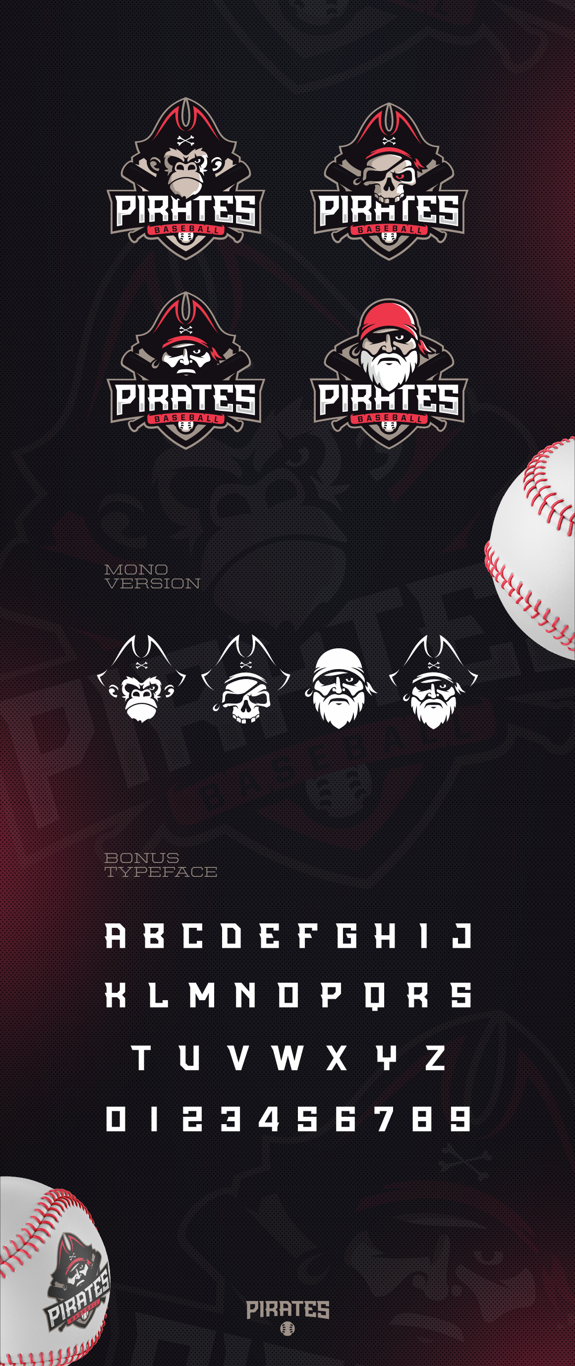 4 Logos with Pirates + Typeface