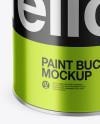 Opened Metallic Paint Bucket Mockup