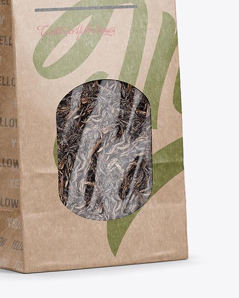 Kraft Paper Bag With Window Mockup - Half Side View