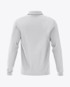 Men's Long Sleeve Polo Shirt Mockup - Back View
