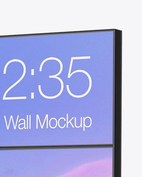 LED Video Wall Mockup - Half Side View