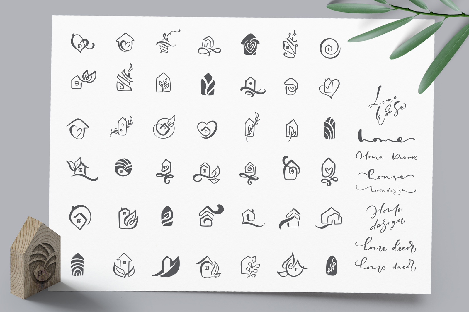 Hand drawn Logo House Vector elements SVG