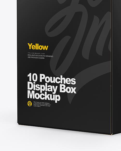 10 Pouches Display Box Mockup