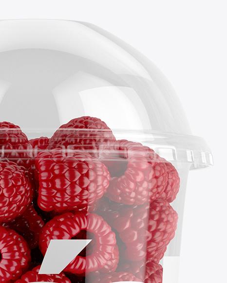 Plastic Cup With Raspberries Mockup