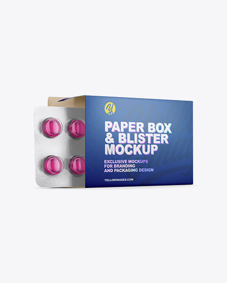 Download Opened Paper Box Round Tablets Blister Mockup Half Side View In Box Mockups On Yellow Images Object Mockups PSD Mockup Templates