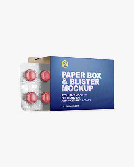 Download Opened Paper Box & Round Tablets Blister Half Side View PSD Mockup