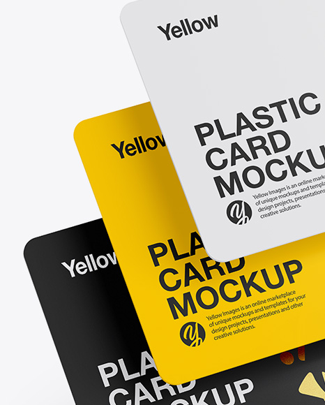 Three Plastic Cards Mockup In Stationery Mockups On Yellow Images