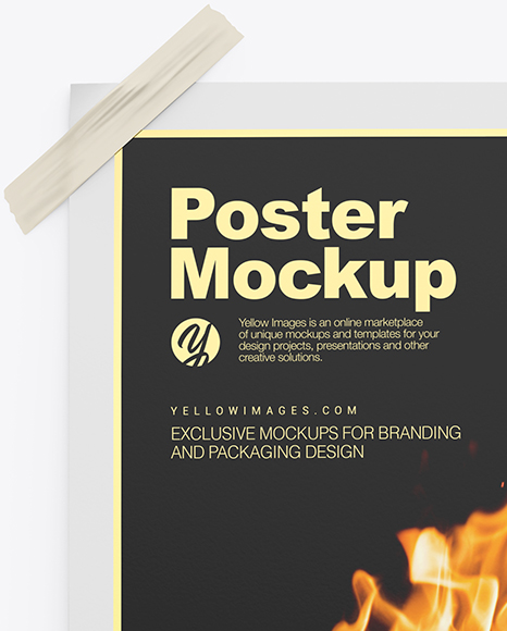 Download Poster Mockup In Stationery Mockups On Yellow Images Object Mockups PSD Mockup Templates