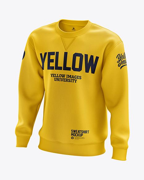 Men's Heavyweight Sweatshirt mockup (Half Side View)