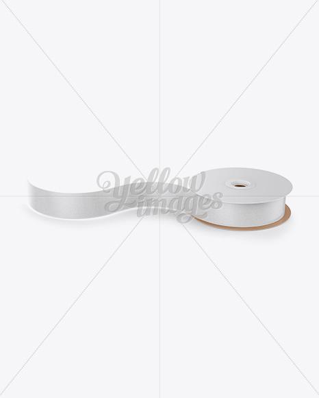 Printed Ribbon Roll Mockup - High-Angle Shot