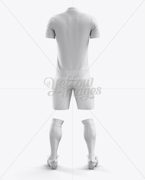 Men's Full Soccer Kit with Mandarin Collar Shirt Mockup (Back View)