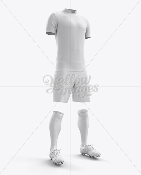 Men's Full Soccer Kit with Mandarin Collar Shirt Mockup (Hero Shot)