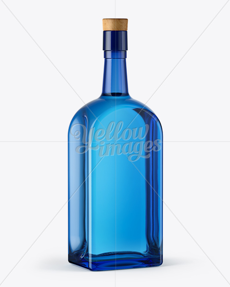 Download Blue Glass Gin Bottle Mockup In Bottle Mockups On Yellow Images Object Mockups PSD Mockup Templates