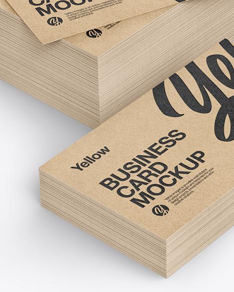 stack of kraft business cards mockup in stationery mockups