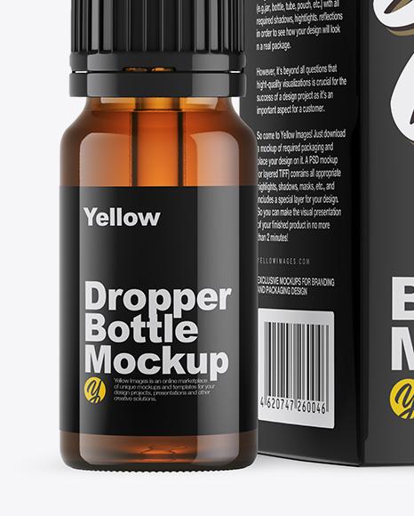 Download Amber Glass Dropper Bottle Box Mockup PSD - Free PSD Mockup Templates