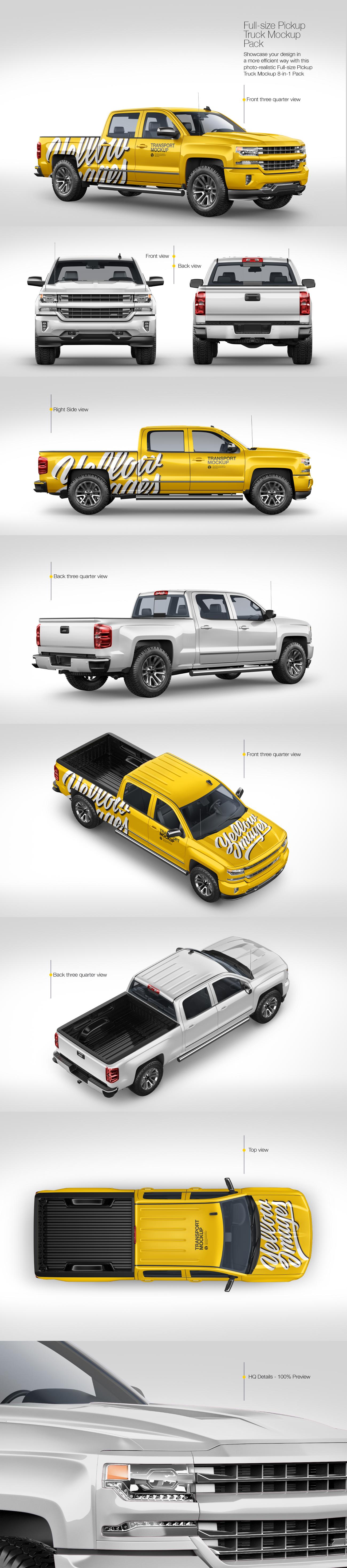 Full-Size Pickup Truck Mockup Pack
