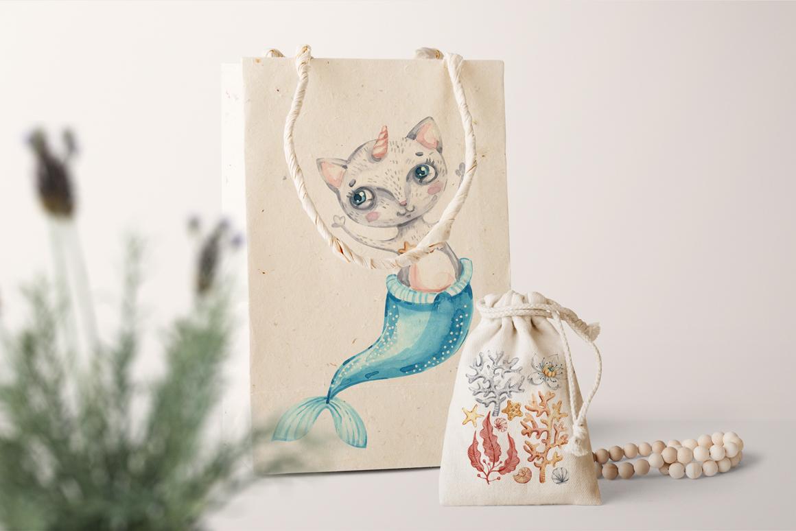 Watercolor cute mermaid cat clipart. Nautical underwater clip art. Seashells clip art.