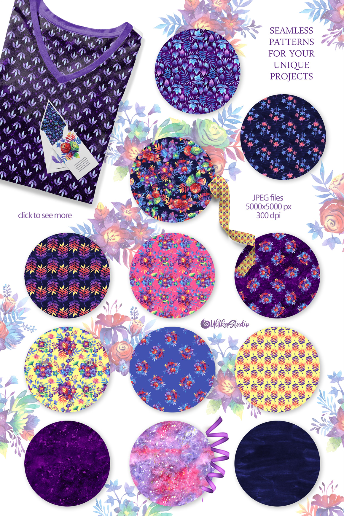 Galactic Garden. Galaxy floral watercolor collections!