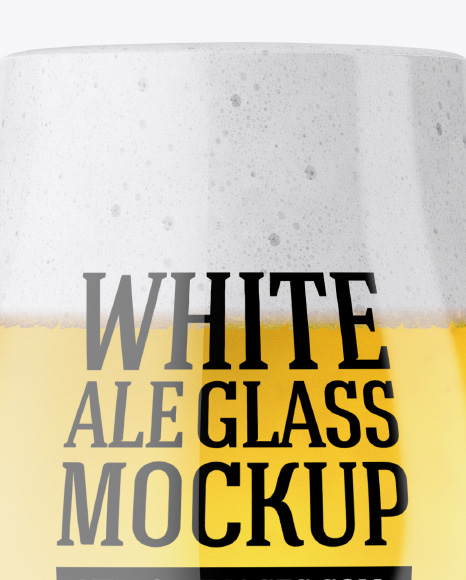 Tulip Glass With White Ale Mockup