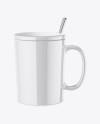 Glossy Mug with Lid Mockup